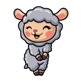 귀여운 아기 양 만화 포즈