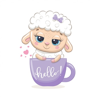 Cute baby sheep in cup.