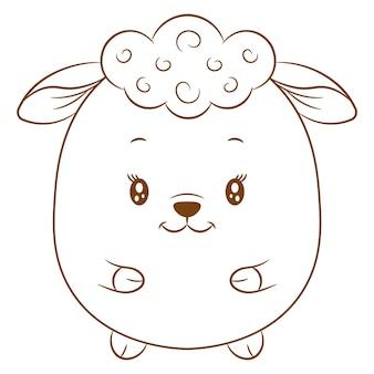 着色のためのかわいい赤ちゃん羊の描画スケッチ