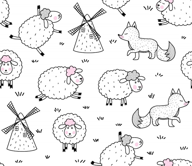 Cute baby sheep pattern