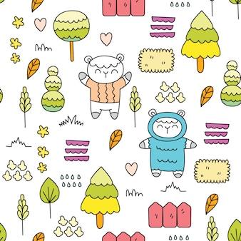 Cute baby sheep seamless pattern