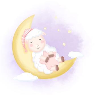 月の図で寝ているかわいい赤ちゃん羊