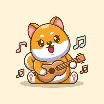Cute baby shiba inu dog playing guitar cartoon