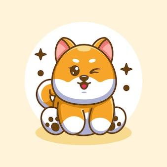 かわいい赤ちゃん柴犬犬座っている漫画