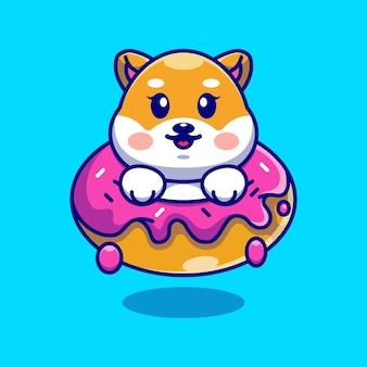 ドーナツ漫画とかわいい赤ちゃん柴犬犬