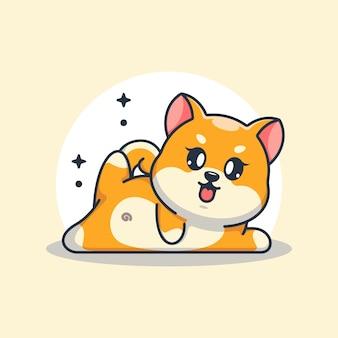 かわいい赤ちゃん柴犬犬のヨガのポーズ漫画