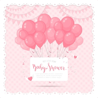 Cute baby shower background with balloons