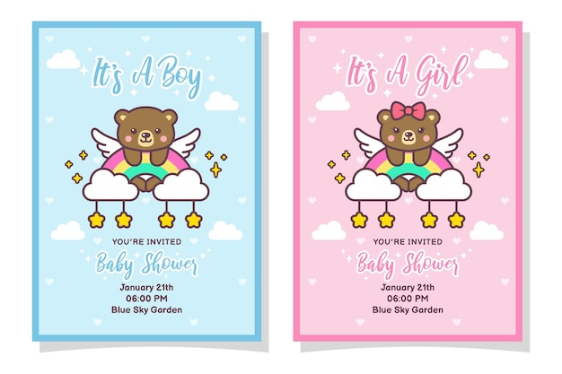 Cute baby shower boy and girl invitation card with bear, cloud, rainbow, and stars
