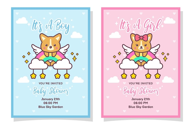 Cute baby shower boy and girl invitation card with corgi dog, cloud, rainbow, and stars