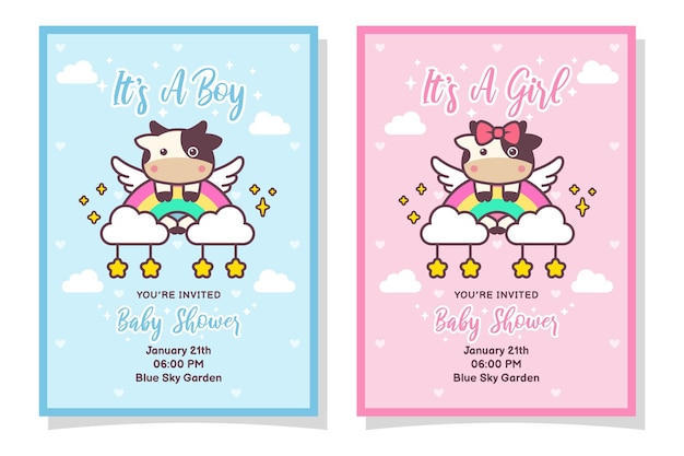 Cute baby shower boy and girl invitation card with cow