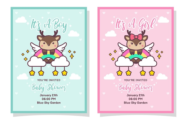 Cute baby shower boy and girl invitation card with deer
