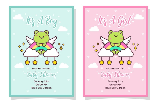 Cute baby shower boy and girl invitation card with frog, cloud, rainbow, and stars