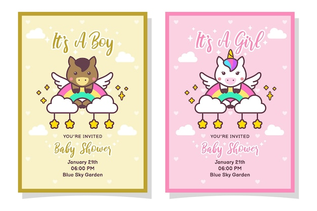 Cute baby shower boy and girl invitation card with horse