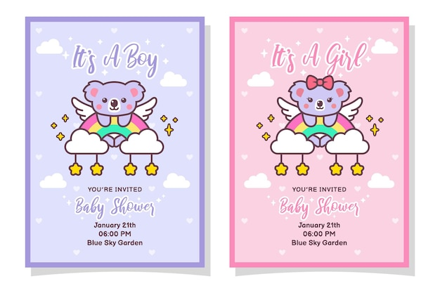 Cute baby shower boy and girl invitation card with koala, cloud, rainbow, and stars
