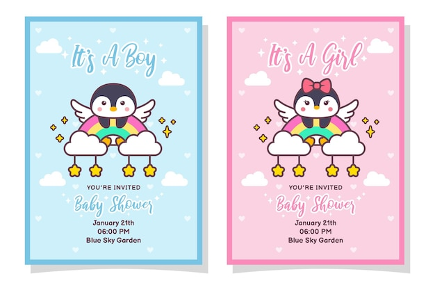 Cute baby shower boy and girl invitation card with penguin bird