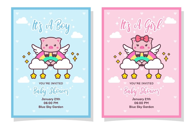 Cute baby shower boy and girl invitation card with pig, cloud, rainbow, and stars