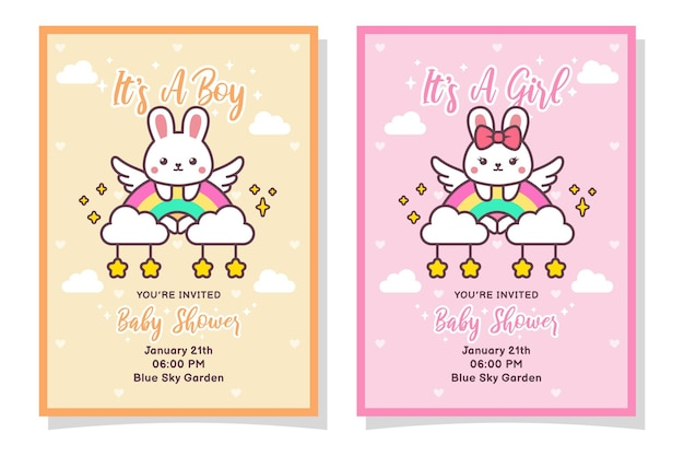 Cute baby shower boy and girl invitation card with rabbit, cloud, rainbow, and stars