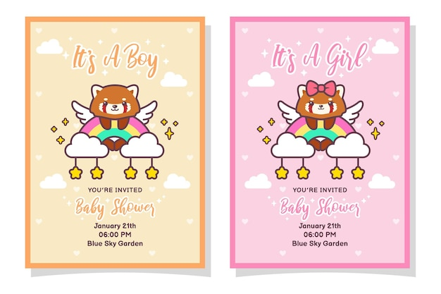 Cute baby shower boy and girl invitation card with red panda