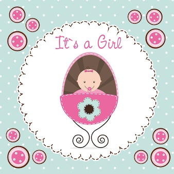 Cute baby shower card baby girl vector illustration