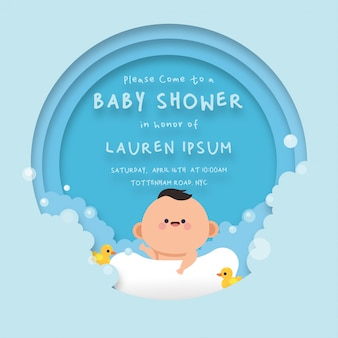 Cute baby shower card  background template