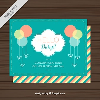 Cute baby shower card with balloons