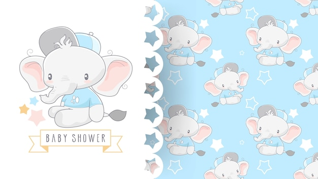 Cute baby shower card with elephant