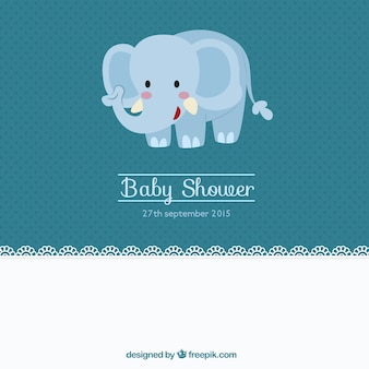 Cute baby shower card with an elephant