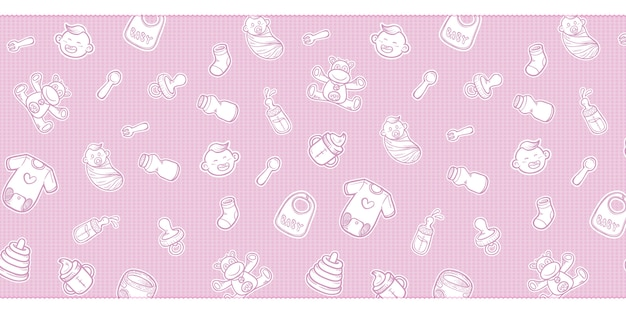 Cute baby shower equipment doodles background