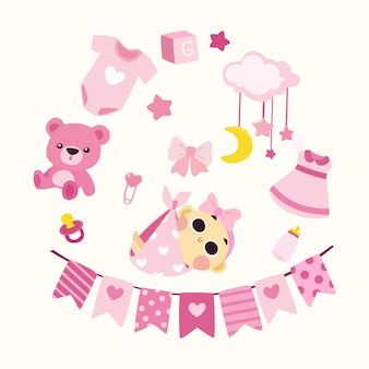 Cute baby shower illustration girl