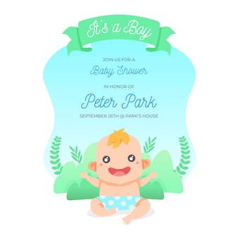 Cute baby shower invitation in flat design
