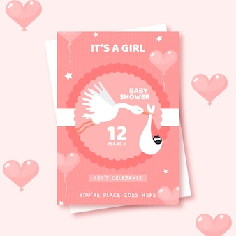 Cute baby shower invitation illustrated for girl