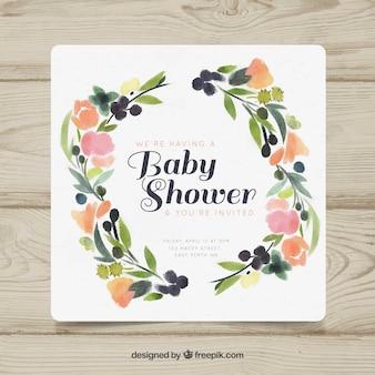 꽃과 함께 귀여운 베이비 샤워 초대장