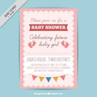 Cute baby shower invitation Free Vector