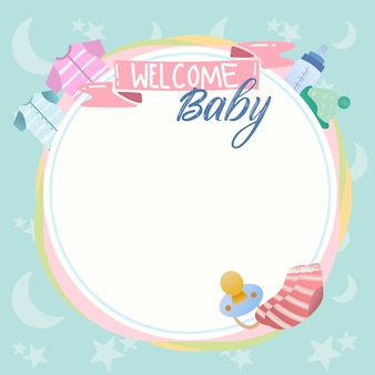 Cute baby shower and new born design banner background vector with pacifier, baby clothes.