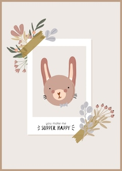 Cute baby shower in scandinavian style including flowers and funny animal decorative hand drawn elements.