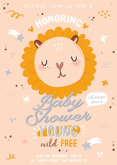 Cute baby shower in scandinavian style including trendy quotes and cool animal decorative hand drawn elements. cartoon doodle kids illustration for nursery room decor, children design.