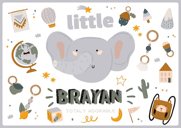 Cute baby shower in scandinavian style including trendy quotes and cool animal decorative hand drawn elements. cartoon doodle kids illustration for nursery room decor, children . .