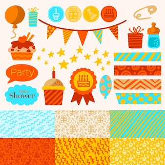 Cute baby shower scrapbook elements pack