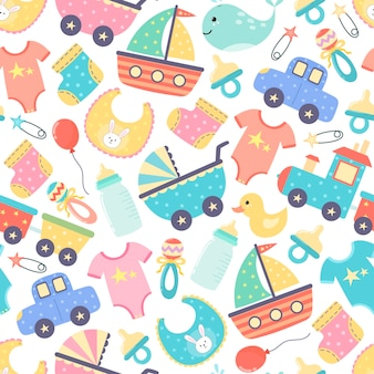 Cute baby shower seamless pattern. colorful newborn background.