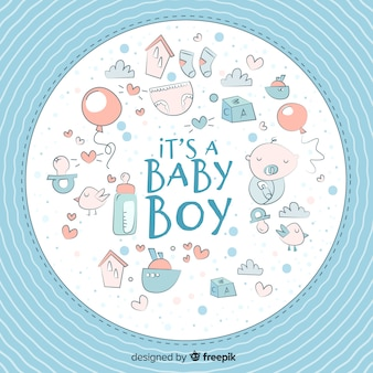 Cute baby shower template for boy