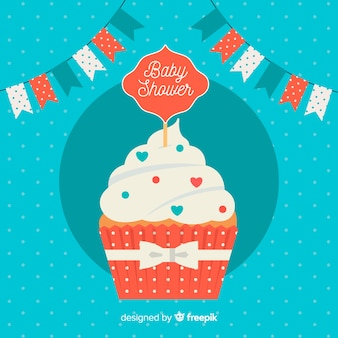 Cute baby shower template with cake