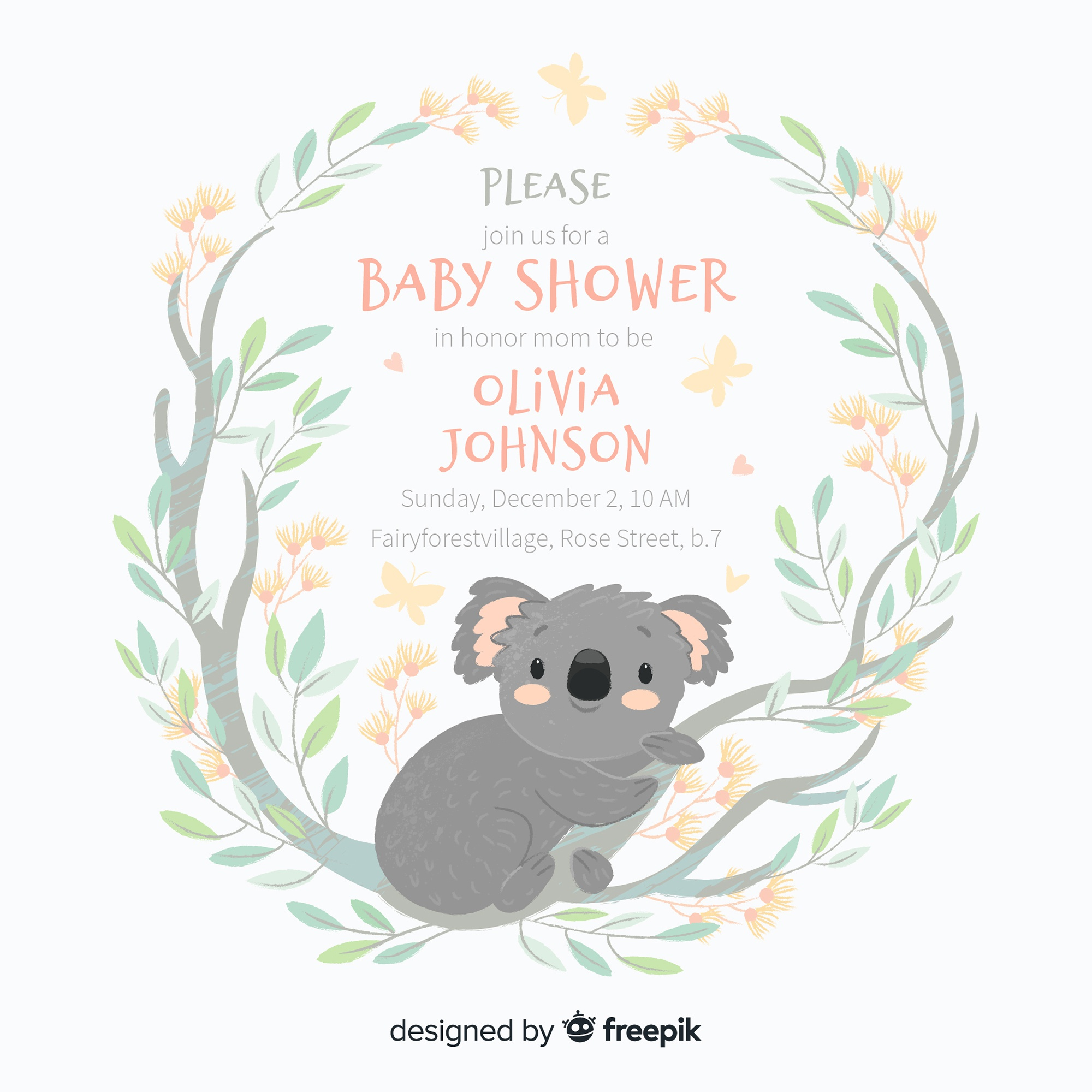 Cute baby shower template with koala