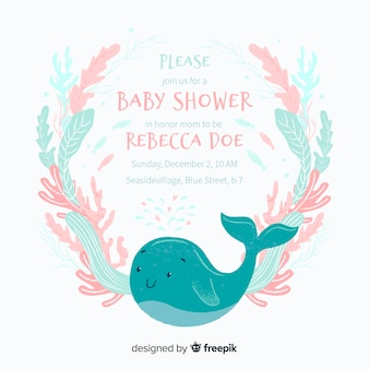 Cute baby shower template with whale