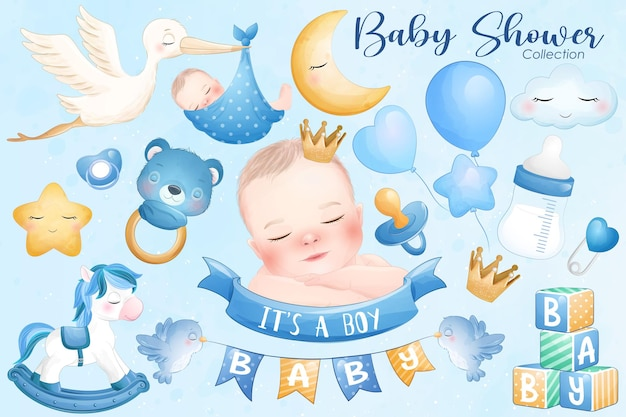 Cute baby shower in watercolor style collection