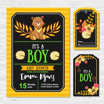 Cute baby shower with bear for boys. card and tags