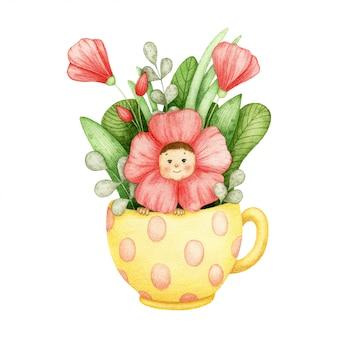 Милый ребенок сидеть в желтой чашке с цветами мака. акварельные иллюстрации