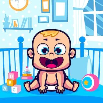 かわいい赤ちゃんはベビーベッドの漫画に座っています