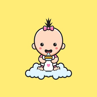 Cute baby sitting on the cloud holding milk bottle pacifier cartoon icon illustration. design isolated flat cartoon style