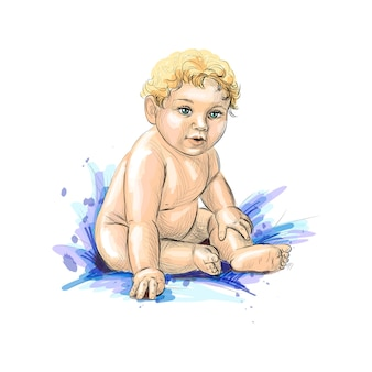 Cute baby sitting from a splash of watercolor, hand drawn sketch.  illustration of paints