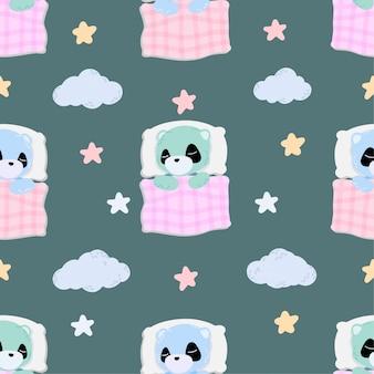 귀여운 아기 수면 팬더 동물 원활한 패턴